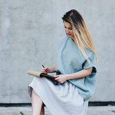 Women's linen top oversizes sleeveless | SIMPLY GREY