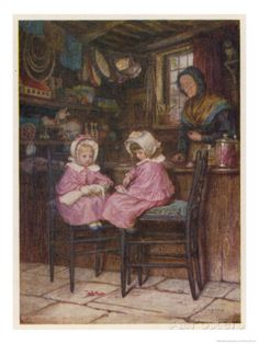 Two Little Girls Dressed in Pink Outfits Sit at the Counter of a Toy and Sweet Shop Giclee Print by Helen Allingham at AllPosters.com