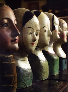 "A collection of five French painter papier-mache wig makers' or milliners' marottes, circa 1880. The largest 16"" high. From the Christie's South Kensington sale of the property of antiques dealer Roger Warner. I want to try and make one of these using papier-mache."