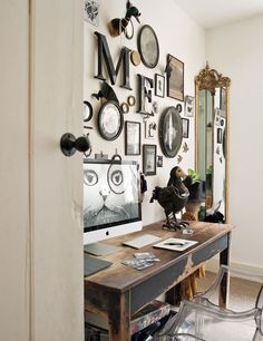 Absolutely love this wall display—gorgeous eclectic style—London home of British artist, Rory Dobner gallery wall photo wall photo gallery Industrial Interiors, Rustic Industrial, Industrial Apartment, Industrial Living, Industrial Bookshelf, Rustic Desk, Kitchen Industrial, Industrial Office, Industrial Furniture