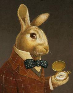 White Rabbit Portrait - Bunny portrait - Victorian | White Rabbits ...