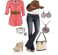LOVE THIS but it wood be better with boots!!  ~~country fashion~~
