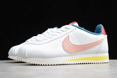 Nike Cortez Coral Stardust White Pink On Sale Yellow Stripes, Pink Yellow, Coral, Blue, Nike Classic Cortez, Nike Cortez, White Leather, Me Too Shoes, Kicks