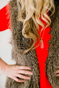 Love this fur & red combo!