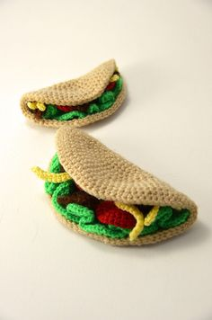 Taco Time - Large and Small, set of 2 tacos - Toy Food - Play Kitchen - Amigurumi - CROCHET PATTERN No.72