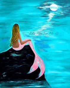 """Mermaid Art Mermaid Art Print Giclee Mermaid Painting Mermaid Decor Evening Moon Art Ocean Blonde Mermaid """"Pink Tail"""" Leslie Allen Fine Art by LeslieAllenFineArt on Etsy https://www.etsy.com/listing/228749443/mermaid-art-mermaid-art-print-giclee"""
