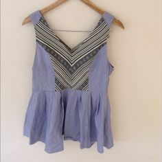 J Very Chambray Peplum Top J Very Chambray Peplum Top. Worn once. Zips up in the back, low cut should be work with a bandeau or a strapless bra J Very Tops