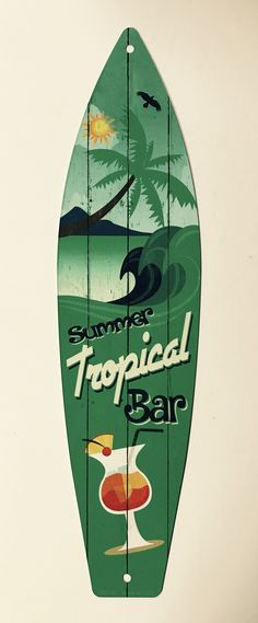 "Summer Tropical Bar Surf Board Sign, 17"" Long x 4.5"" Wide x .03"" Thick, ** Free Shipping **"
