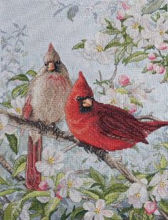 "Bucilla Heirloom Collection Cardinals Counted Cross Stitch Kit-10""X13-1/2"" 28 Count"