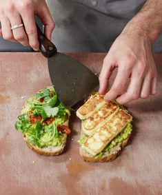The Vego Sandwich by thedesignfiles: Avocados, haloumi and chilli jam! #Sandwich  #Avocado #Haloumi