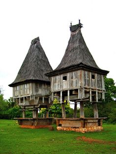 Traditional Fatuluku house of East Timor with its high pitched roof (needs repair) in the village of Mehara, near Tutuala at the very far east of Timor Leste. Bali Lombok, Timor Oriental, Dutch East Indies, Timor Leste, Vernacular Architecture, Macau, Tropical Houses, Beautiful Buildings, Brunei