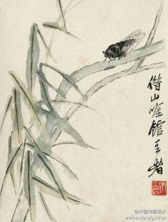 绿柳鸣蝉 by 齐白石