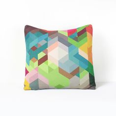 Colorful Geometric Pillow Cover in Lime Green, Teal, Brown, Gray, Brown, Fuchsia, Pink / Geometric Cushion Cover / Chevron Pillow / 18x18 by Nirwa on Etsy https://www.etsy.com/listing/159718850/colorful-geometric-pillow-cover-in-lime