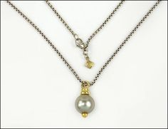 A DAVID YURMAN 18 KARAT YELLOW GOLD, STERLING SILVER, AND BLACK CULTURED PEARL DROP PENDANT NECKLACE. Lot 150-7206 #jewelry