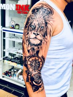 TOP Popular Tattoo Designs For Men 2019 is part of Tattoos - Lion Arm Tattoo, Lion Head Tattoos, Leo Tattoos, Bild Tattoos, Animal Tattoos, Body Art Tattoos, Lion Tattoos For Men, Lion Shoulder Tattoo, Lion Sleeve