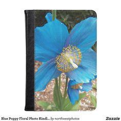 Blue Poppy Floral Photo Kindle Case