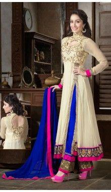Cream & Blue Shraddha Kapoor Georgette Suit Rs.7,800
