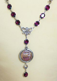 French Necklace Pendant Rue Belle Violet by dfoxjewelrydesigns