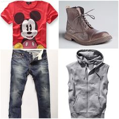 Mickey mouse shirt, faded denim skinny jeans, sleeveless hoodie, & brown leather boots. Loving ideas for fall outfits! Men's wear