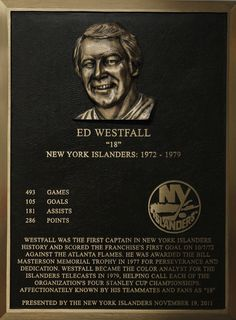 Ed Westfall's Hall of Fame plaque.