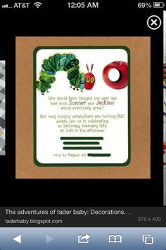 The Very Hungry Caterpillar Invites