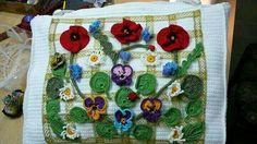 Crocheted Flower & Leaves
