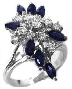 1.50ct Sapphire 0.50ct Diamond 14k Gold Ring