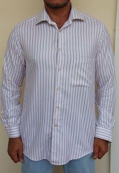 PAL ZILERI Shirt, White, Dark Brown, Stripes. Made in ITALY