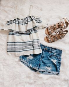 292978aa84 Casual Spring Outfit | Striped Cotton Off-the-shoulder blouse | denim shorts