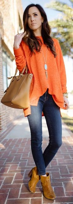 Orange And Blue Casual Street Spring Outfit