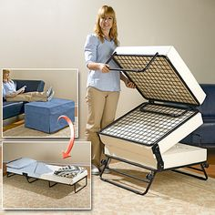 An Ottoman That Turns Into A Guest Bed! That Is AWESOME! Www.coolthings