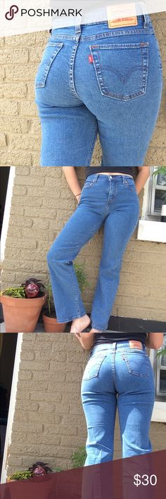 Levi's perfectly slimming 512's These jeans are 98% cotton and 2% spandex which makes them 100% flattering; tight and stretchy on top and loose boot cut on the bottom. They're pretty high-waisted. Model is a size 28 in pants usually and these are sized at a '4s'. Levi's Jeans Boot Cut