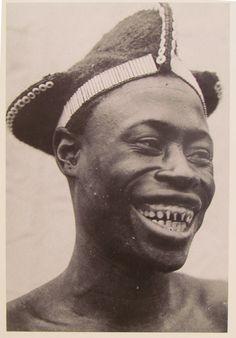 Fang, coiffure, filed teeth. Gabon