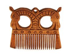 Viking Wooden Comb with a horses by TabernaVagantis on Etsy
