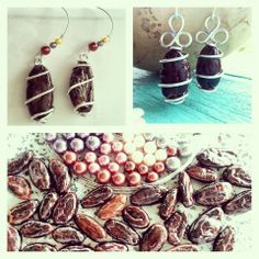 In preparation for Belize Chocolate Festival. Chocolate inspiration. Cocoa Bean Earrings by Maya's Handcrafted Jewelry