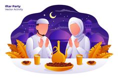 , Iftar Party - Vector Illustration- Suitable for your design needs, All elements on this template are editable with adobe illustrator! Editable Text, Before you open the Logo Flat Design Illustration, People Illustration, Funny Illustration, Character Illustration, Illustrations, Digital Illustration, Graphic Illustration, Design Thinking, Iftar Party