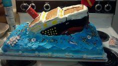 Sinking Titanic cake.