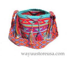 Authentic Crochet Wayuu Mochilas ~ Crossbody 10 in.H x 8 in.W ~ 19 in. strap drop ~