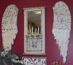 Mirror and White Wood Distressed Angel Wings