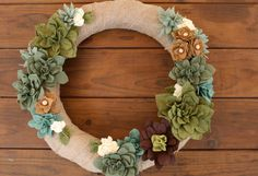 Felt Succulent Wreath by KKeithDesigns on Etsy