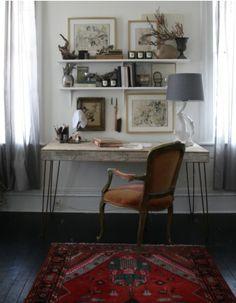 Desk + Shelves, Ethnic Rug