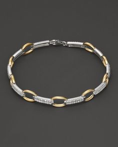 Pave Diamond Link Bracelet in White and Yellow Gold, ct. Gold Bracelet For Girl, Solid Gold Bracelet, Mens Gold Bracelets, Gold Bangle Bracelet, Link Bracelets, Fashion Bracelets, Diamond Bracelets, Silver Bangles, Jewelry Bracelets