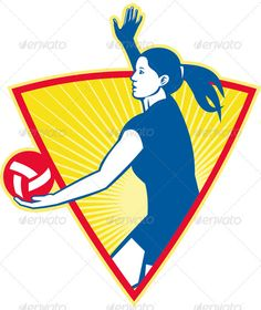 Volleyball Player Serve Ball Side Indoor