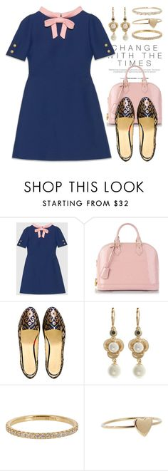 """Casual Flats 2879"" by boxthoughts ❤ liked on Polyvore featuring Gucci, Louis Vuitton, Boté a Mano, Anne Klein, Irene Neuwirth and Jennifer Meyer Jewelry"