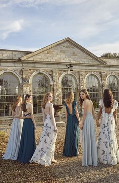 Jenny Yoo Collection 2018 Bridesmaids, featuring romantic long luxe chiffon mismatched styles with flutter sleeves, halters and v-necks and above the knee skirt slits. These bridesmaids dresses shown in shades of blue as well as solids and tropical prints with light and deep blue and green floral details which are perfect for a classic, timeless and elegant mix n match bridal party for a spring, summer, fall or winter wedding.