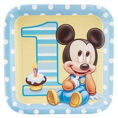 Disney+Mickey's+1st+Birthday+Dinner+Plates from BirthdayExpress.com