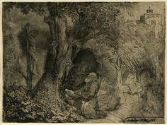 1657 Rembrandt van Rijn -2e etat- Saint François sous un arbre priant par l'artiste