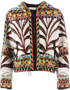 Multicoloured silk and stretch cotton tribal beaded jacket from Emilio Pucci featuring a hood, long sleeves, a zip fastening, side zipped pockets and fully… Tribal Fashion, Womens Fashion, Beaded Jacket, Oversized Jacket, Emilio Pucci, Jackets For Women, Clothes, Beadwork, Vests