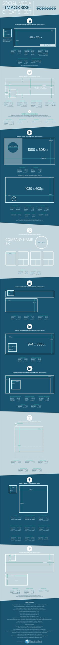 We understand you're busy. That's why we decided to create this helpful cheat sheet that has all of the 2017 social media image dimensions in one place!