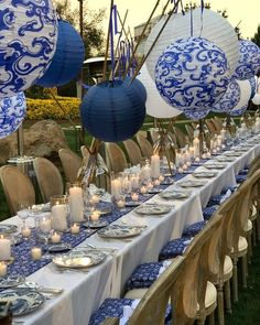 45 Ideas wedding table settings blue and white decor for 2019